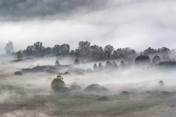 Mgła w górach, jesień wschód słońca - 303387976