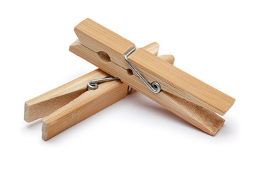Wooden clothespin isolated on white background