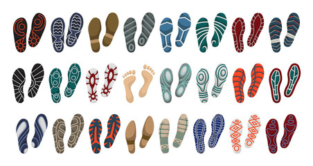 Print of shoe vector cartoon set icon.Vector illustration print of sole shoe on white background . Isolated set icon footprint foot.