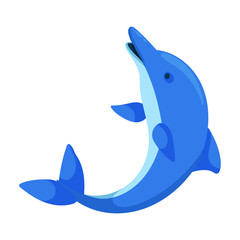 Blue dolphin vector icon.Cartoon vector icon isolated on white background blue dolphin .