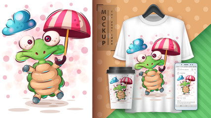 Turtle with umbrella poster and merchandising