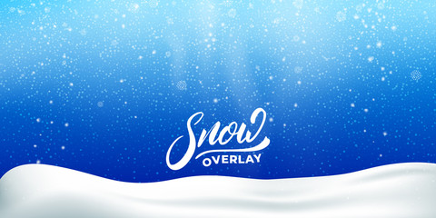 Fotomurales - Snow. Realistic snow overlay background. Winter Christmas and New Year snow decoration