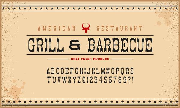 Hand Made Font 'American Grill'. Custom handwritten alphabet.
