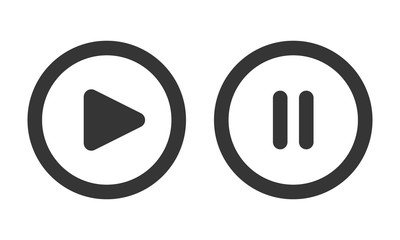 Play and pause buttons - vector illustration.