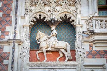 Statue of King Louis XII at the entrance to Chateau de Blois. Loire Valley, France
