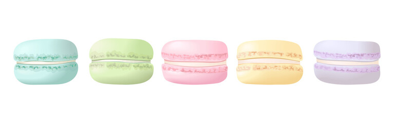 Delisious macaroons in a row set. Sweet almond french cakes macaron.