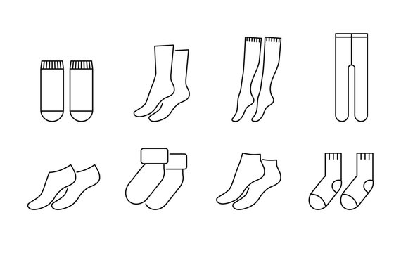 Socks vector icons set line style
