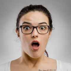 Woman with a astonished expression