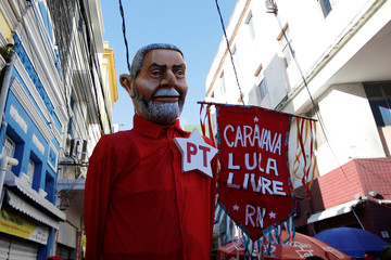 A puppet depicting Brazil's former president Luiz Inacio Lula da Silva is seen during a rally in Recife