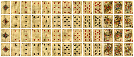 Full set of Vintage playing cards isolated on white background - High quality.