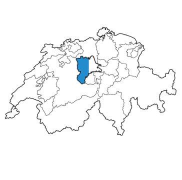 flag of Luzern canton on map of switzerland