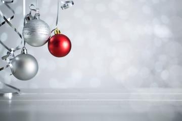 Silver Christmas balls with ribbon