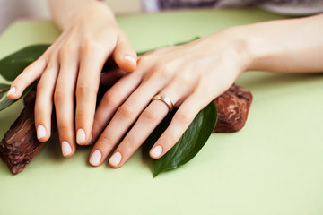 pretty perfect woman hands with white manicure and green leaf on colorful background with wood, spa cosmetic concept