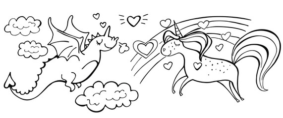 Hand drawn magic cute unicorn, rainbow, heart and dragon isolated on white. Couple in love. Vector illustration. Perfect for print, coloring book, greeting card. Wall mural