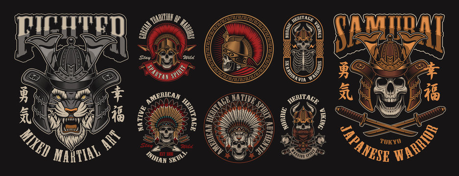 Set of designs with skulls in different headgear