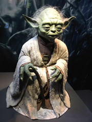 yoda in authentic costume star wars identities exhibition
