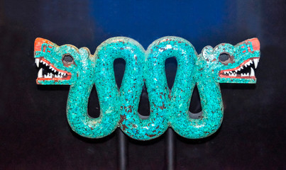 London, UK - April 2017: Turquoise mosaic of double-headed serpent from Mexico in British museum, London