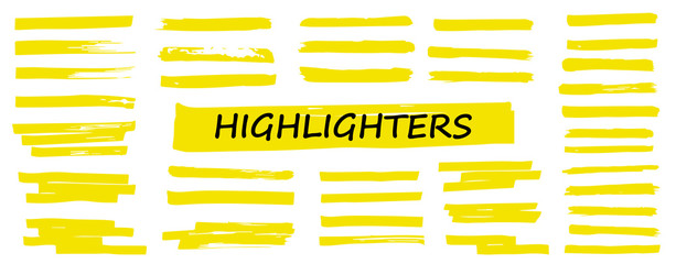 Highlighter collection, brush lines, isolated in white background. Marker yellow set, brush pen hand drawn underline. Vector highlighter graphic stylish element. Watercolor hand drawn highlight set.