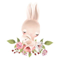 Cute mother bunny with a baby bunny and flowers watercolor illustration