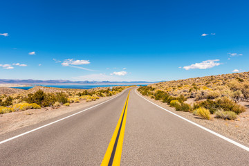 Road towards Mono Lake, Mono County, California, USA. Mono Lake is a saline soda lake formed at least 760,000 years ago.