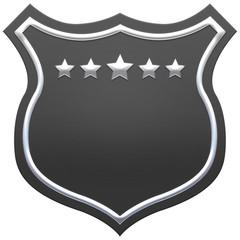 Blank black shield with ribbon. Grey shield. Premium quality banner design. 3D illustration.