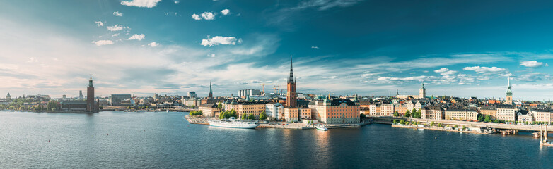 Papiers peints Stockholm Stockholm, Sweden. Scenic View Of Stockholm Skyline At Summer Evening. Famous Popular Destination Scenic Place. Riddarholm Church In Panorama Panoramic View