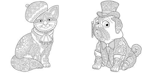 coloring pages set with cat and pug dog
