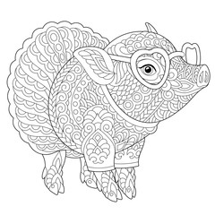 coloring page with lovely pig