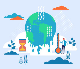 Global warming environmental concept. Vector flat graphic design illustration