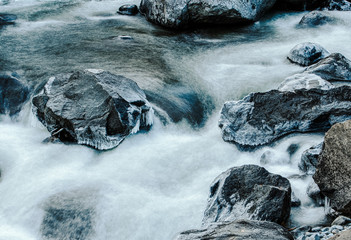 Icy mountain river flowing around rocks and trees