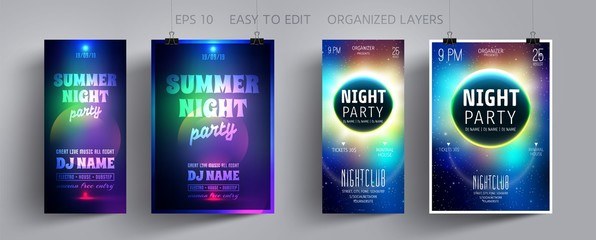 Music Party Flyer or Poster with Abstract Background. Design Invitation Template for Layout for Night Disco Club, Concert, Show, Dj, Celebration, Electronic Festive. Vector illustration