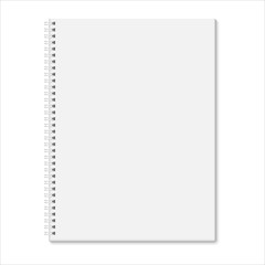 Blank closed spiral notebook isolated on white background.
