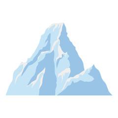 Ice mountain. Cartoon style. Isolated image on a white background.