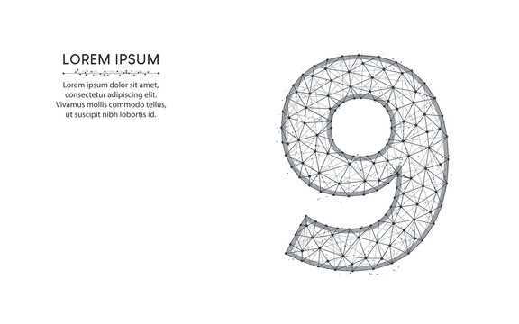 Number 9 low poly design, mathematics abstract geometric image, nine wireframe mesh polygonal vector illustration made from points and lines on white background