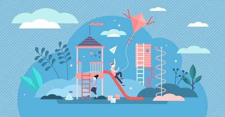 Kid playground vector illustration. Outdoor activity in tiny person concept