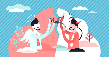Good and evil vector illustration. Opposite forces in tiny persons concept.