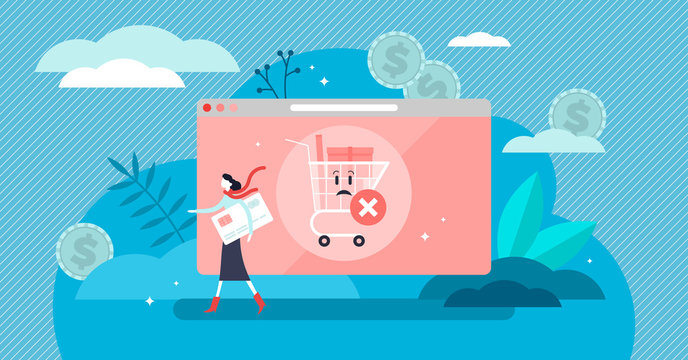 Abandoned card vector illustration. Tiny cancel purchase persons concept.