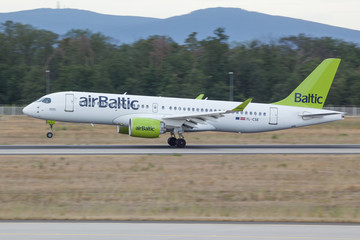 YL-CSE Air Baltic Bombardier BD-500 landing in Frankfurt/Mail on 6th July 2019