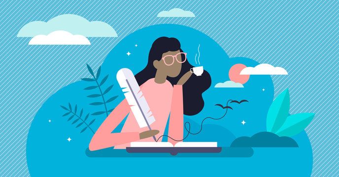 Writing diary vector illustration. Events reflection in tiny person concept