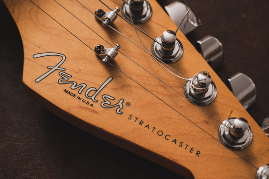Fender Stratocaster electric guitar head detail