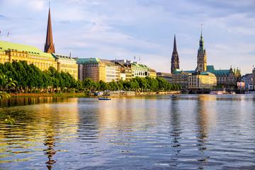 Cityscape of Hamburg on sunset