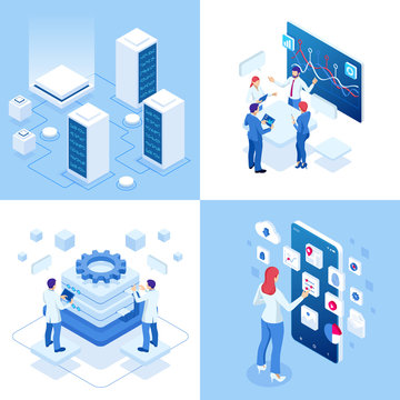 Isometric business concepts. Businessmen and business woman in different situations. Online cooperation, agreement, success, sgoal achievement, financing of projects, online consultation, partnership.