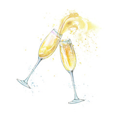 Wineglasses of a champagne.Picture of a alcoholic drink.Watercolor hand drawn illustration.