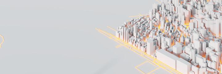 Fotomurales - Techno mega city; urban and futuristic technology concepts, original 3d rendering
