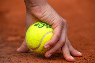 Ball boy's hand during Tennis French Open