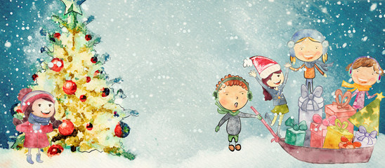 Christmas watercolor background for children.