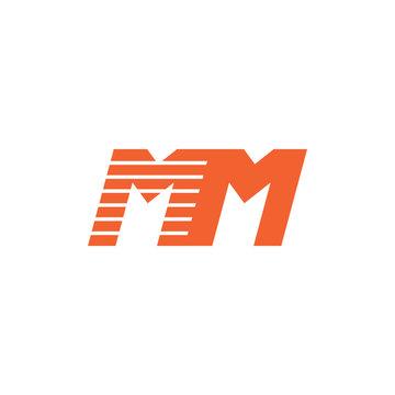 letter mm fast movement design logo vector