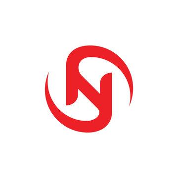 letter sn circle rotate movement design logo vector