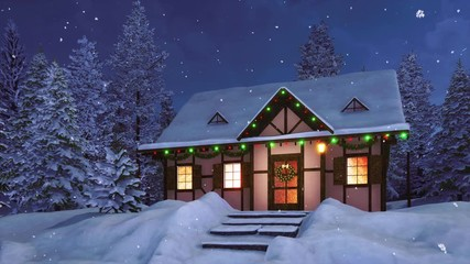 Wall Mural - Rural half-timbered house decorated with christmas lights and garlands among snowbound fir tree forest at snowy winter night. With no people 3D animation for Xmas or New Year holidays rendered in 4K