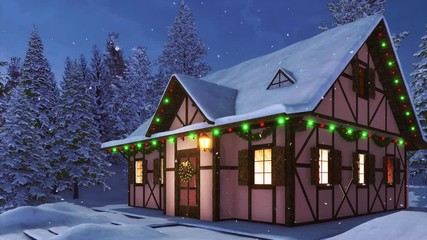 Wall Mural - Facade of cozy snowbound half-timbered rural house decorated for Xmas with christmas lights, wreath and garlands among snowy fir forest at snowfall winter night. Festive 3D animation rendered in 4K